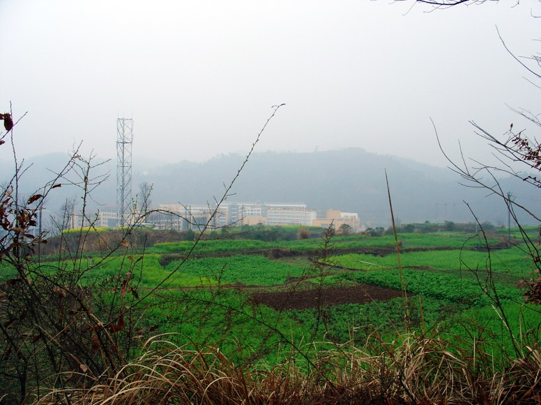 The school, photographed from the hill