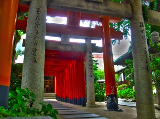 鳥居 - Torii at Kushida Shrine.
