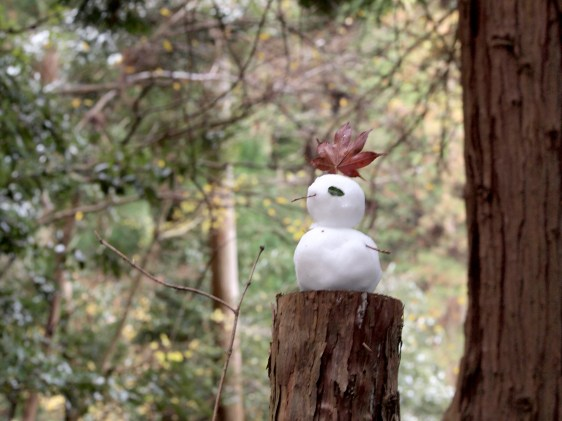 A tiny snowman on the way uphill to Mount Hiei