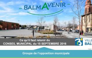 BalmAvenir - Conseil municipal du 15 septembre 2016 - Diapo 1