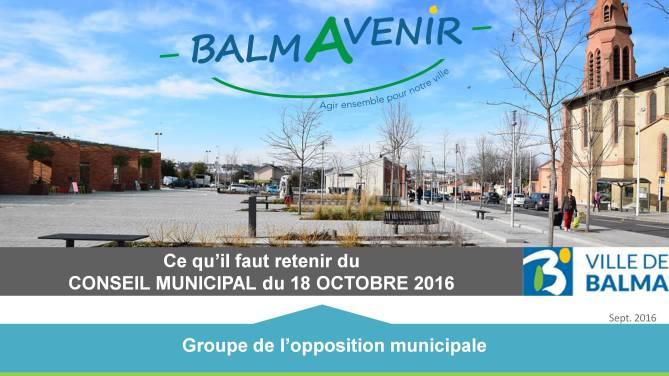 BalmAvenir - Conseil municipal du 18 octobre 2016 - Diapo 1
