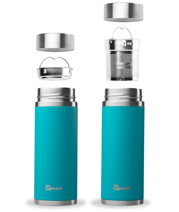 Blue turquoise Qwetch Insulated Stainless Steel tea mug - 300ml
