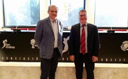 Gonzalo Ibañez y Francisco Roca en la reunión de ayer tarde en la sede de la ACB. Departamento Prensa de Palencia Baloncesto.
