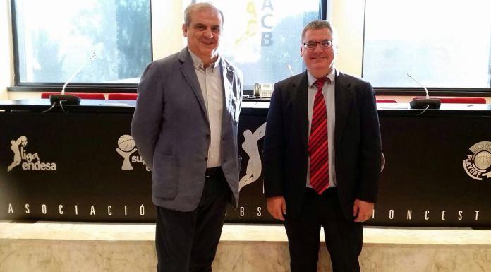 Gonzalo Ibañez y Francisco Roca en la sede de la ACB. Departamento Prensa de Palencia Baloncesto.