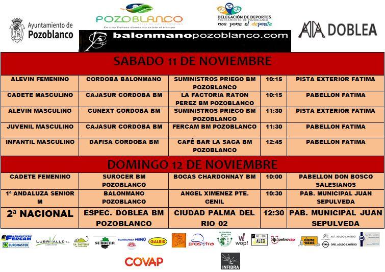 Horarios Balonmano Pozoblanco 11 - 12 Noviembre 2017