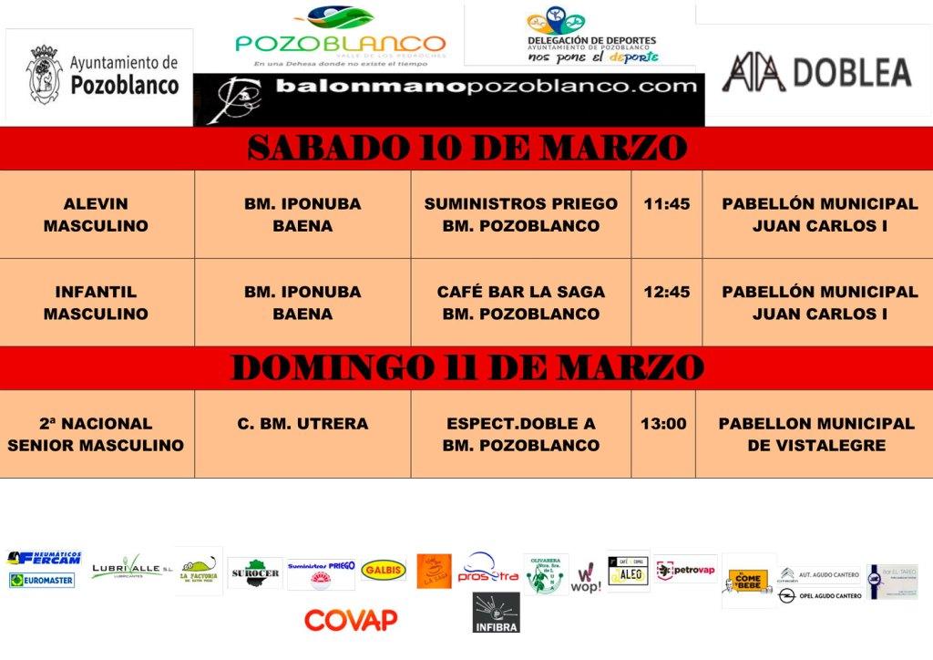 Horarios y enfrentamientos Club Balonmano Pozoblanco 10 y 11 de marzo
