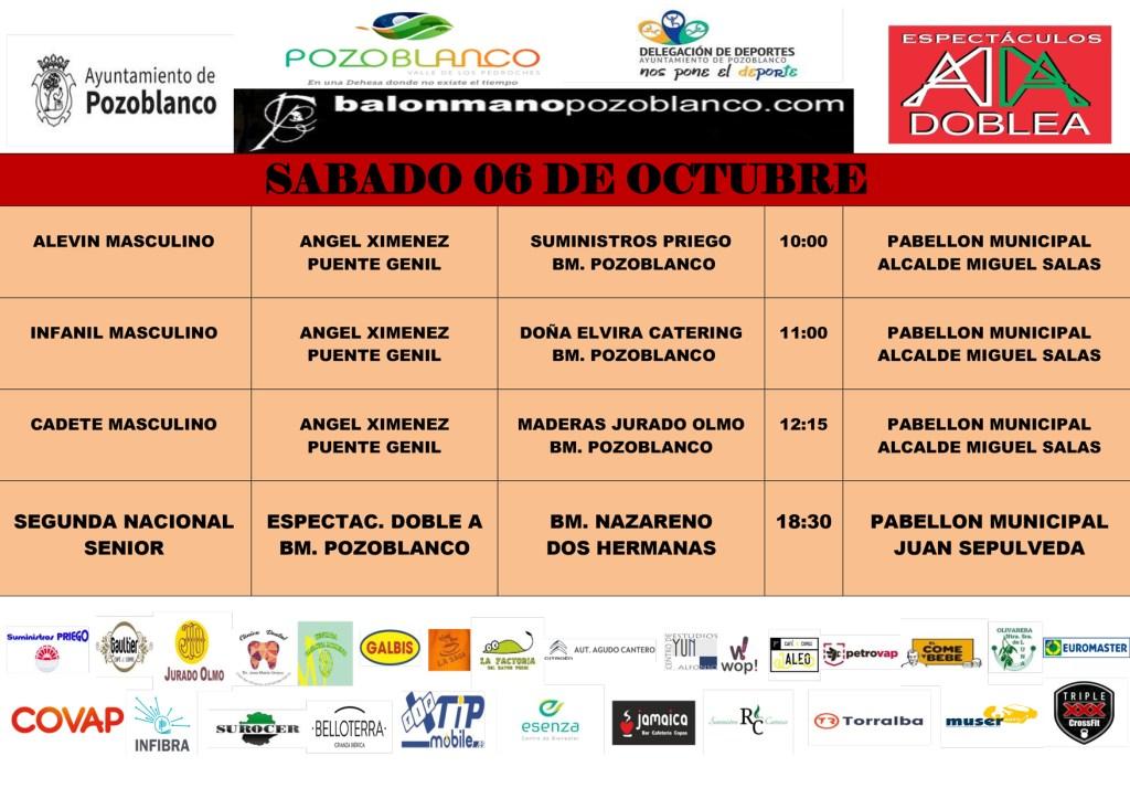 Partidos Club Balonmano Pozoblanco - Ángel Ximenez - 6 y 7 octubre 2018