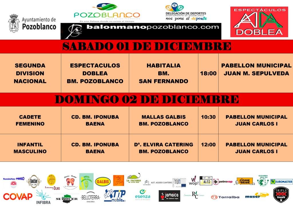 Horarios y enfrentamientos 1 y 2 diciembre 2018 Club Balonmano Pozoblanco