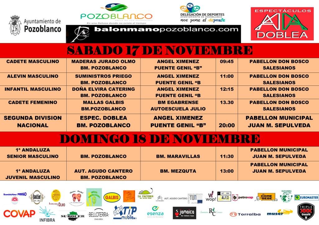 Partidos Club Balonmano Pozoblanco - 17 y 18 noviembre 2018
