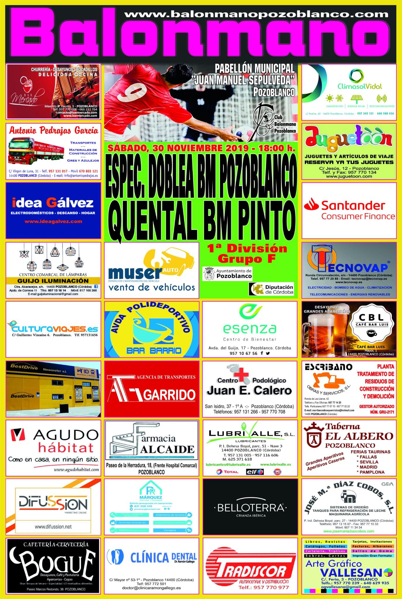 """""""Espectáculos Doble A"""" BM. Pozoblanco vs. Quental BM. Pinto"""