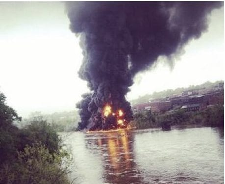 How would Baltimore's again train tunnel handle an oil train fire similar to this Lynchburg, VA explosion?