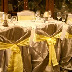 Gold Chair Covers With Black Sash Contemporary Swivel Chairs Linens Baltimore S Best Events Confettis Tropical Gardenwedding Jpg Silver Cover Yellow Sash2