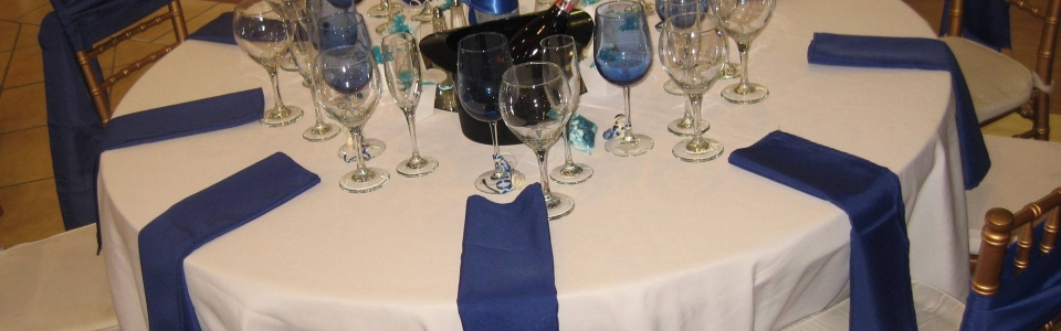 chair cover rentals baltimore md lift chairs covered by medicaid linens s best events blue glassware royal napkin sash top hat ice bucket