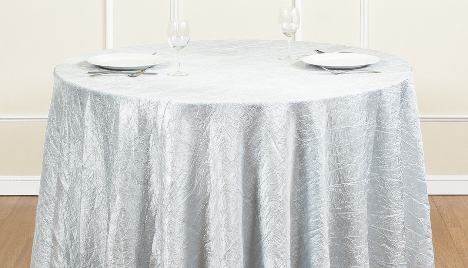 chair cover rentals baltimore md kids 3 piece table and set linens s best events 106 inch round crinkle taffeta tablecloth silver