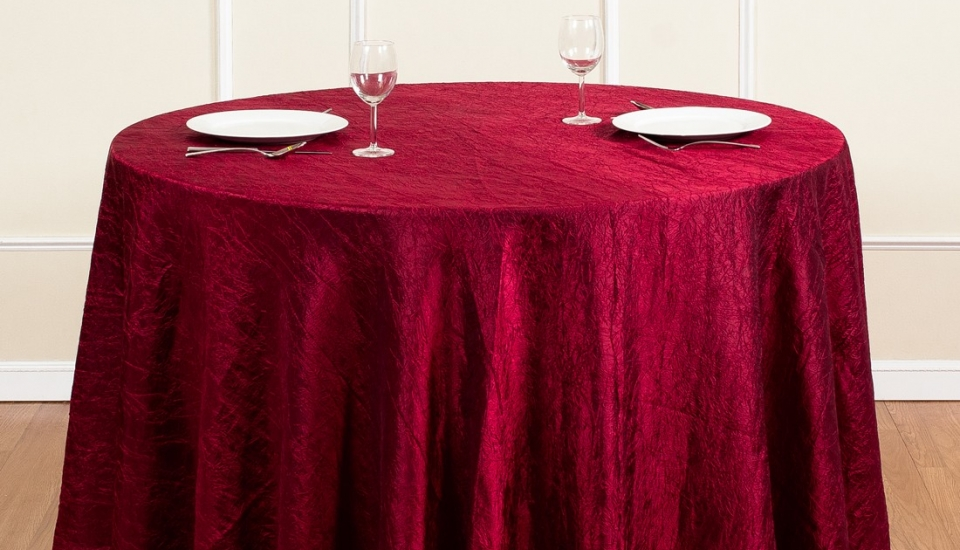 chair cover rentals baltimore md plastic lawn chairs walmart linens s best events 106 inch round crinkle taffeta tablecloth burgundy