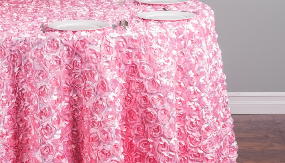 chair cover rental baltimore design ikea linens s best events 118 in round rosette satin tablecloth pink 1