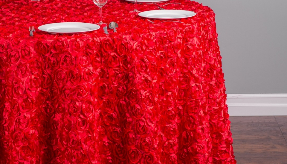 chair cover rentals baltimore md indoor hammock chairs linens s best events 118 in round rosette satin tablecloth red