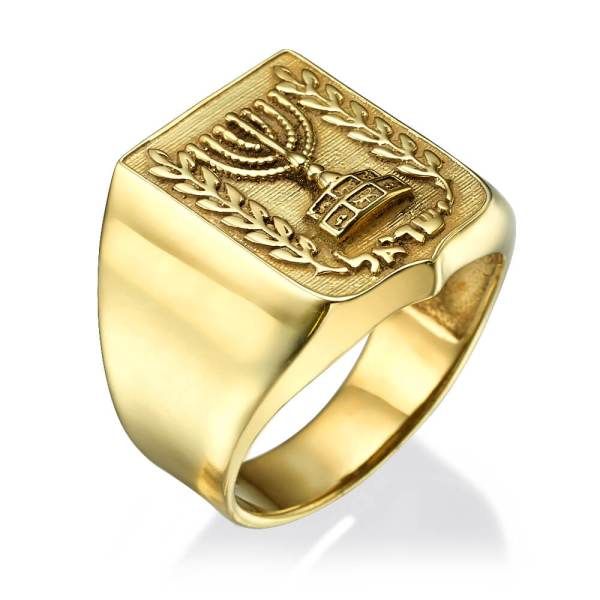 Emblem Of Israel Signet Ring In 14k Yellow Gold Baltinester