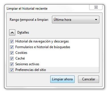 Firefox Limpiar el historial reciente