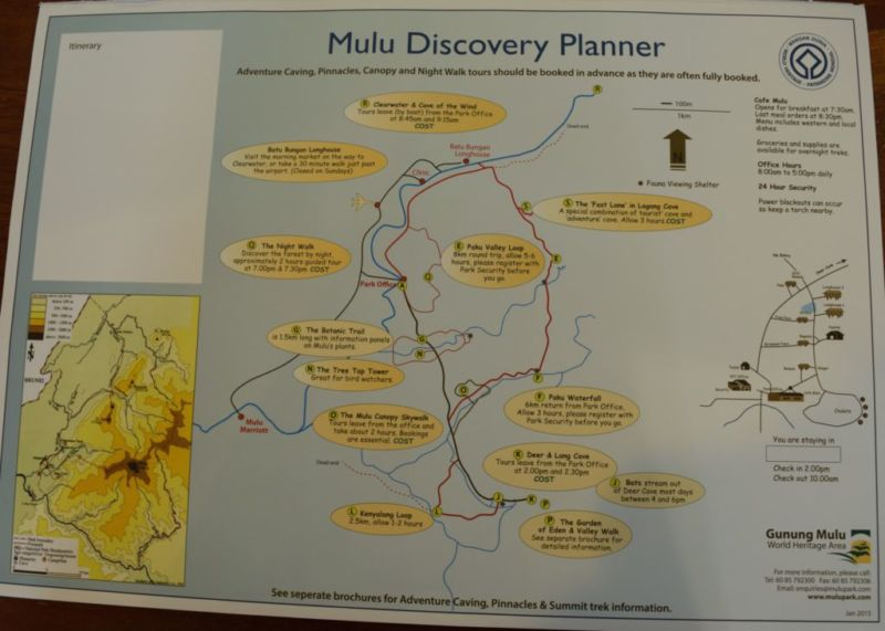 Map of Mulu National Park and nearby activities @2015