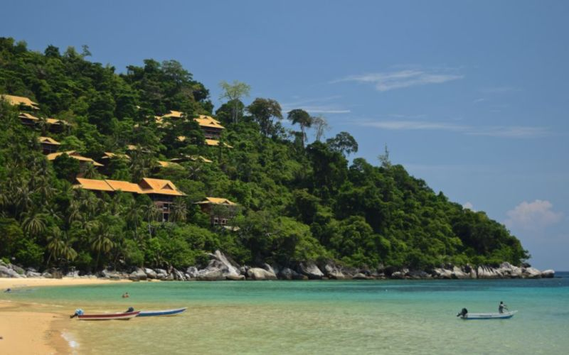 Chalets nested on hill at Salang beach, Tioman, Malaysia