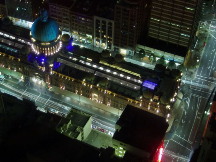 Night view of QVB from Sydney Tower Eye