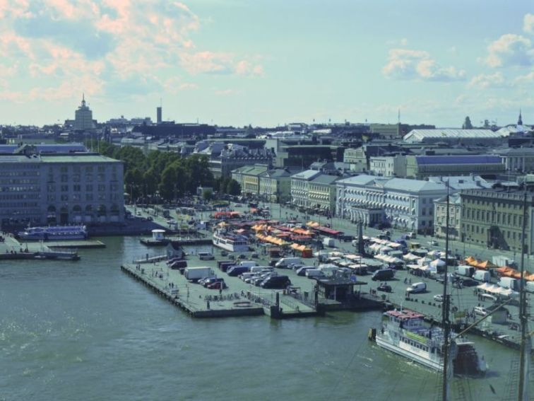 View from Finnair Skywheel: The Market Square (Kauppatori), Helsinki, Finland