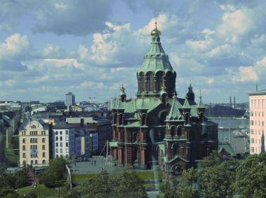 View from Finnair Skywheel: Uspenskin Cathedral, Helsinki, Finland.