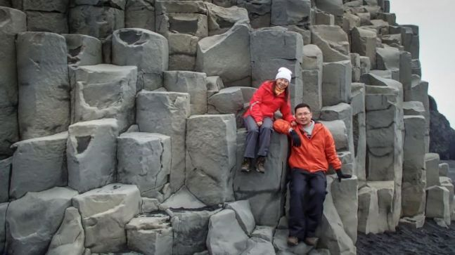 Uniquely shaped basalt columns at the foot of Reynisfjall (mountain). Beside Halsanefshellir sea cavern.