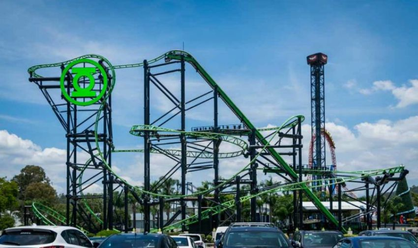 Green Lantern ride, with the steepest inverted drop in the Southern Hemisphere.