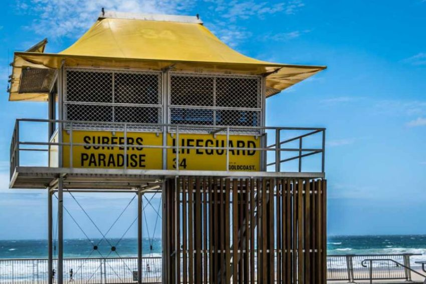 Iconic lifeguard station on Surfers Paradise beachfront