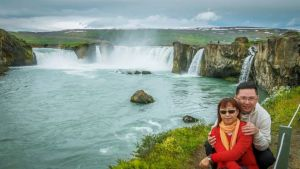 Godafoss. Impressive waterfall that is visible from the Ring Road.