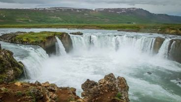 Godafoss. As viewed from the side of the shop/cafe.