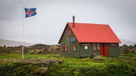 Hut at Herðubreiðarlindir. Herðubreiðarlindir is an oasis (near Mt Herðubreið) with a popular campground and hiking trails. En-route to Askja (via F88)