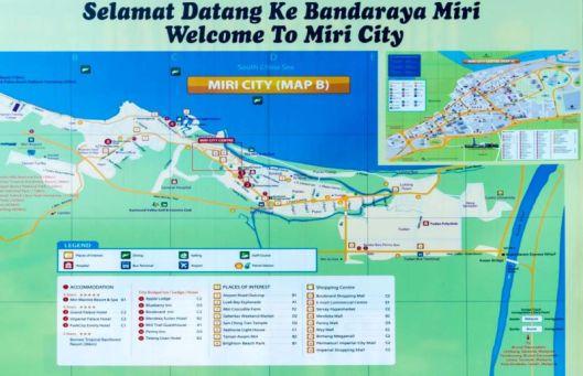Tourist Map of Miri city, Sarawak (Malaysia)