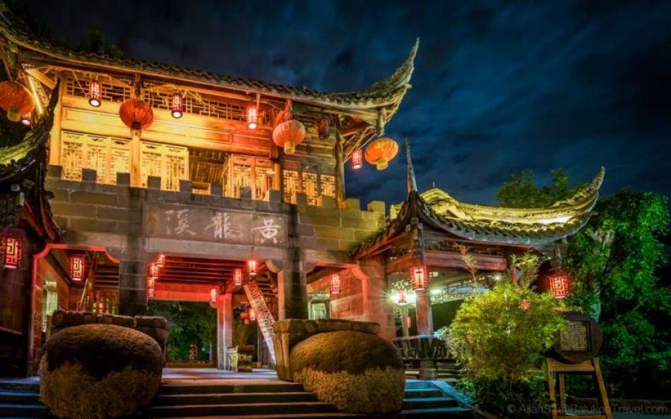 Night view. HuangLongXi Ancient Town (Chengdu, Sichuan Province, China)