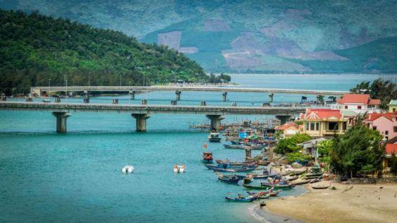Fishing village (next to Lang Co Beach) as seen from Hai Van Pass. (Da Nang, Central Vietnam)