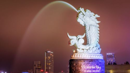Dragon Fountain, located along Han River near to the Dragon Bridge (Da Nang, Vietnam)