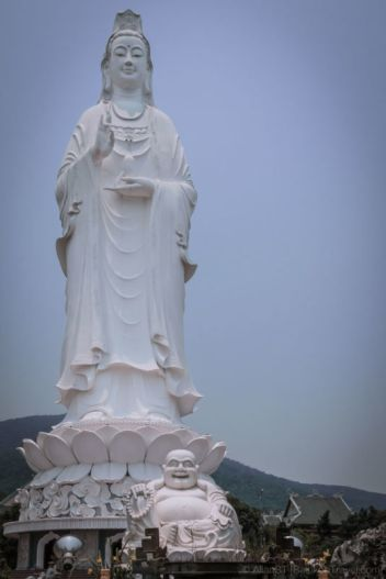 Lady Buddha statue, Da Nang (Vietnam). The 67m statue of the Bodhisattva of Mercy, otherwise known as Lady Buddha, is made of one single slab of marble.