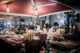 Food stalls in Old Quarter Night Market (Hanoi, Vietnam)