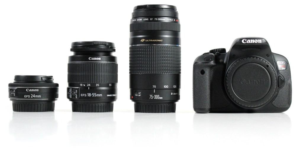 Canon T4i DSLR Camera, Canon 24mm lens, Canon 18-55mm lens, Canon 75-300mm lens