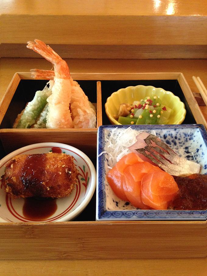 bizan; bento; sashimi; tempura