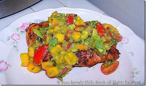 Chicken with mango avocado salsa