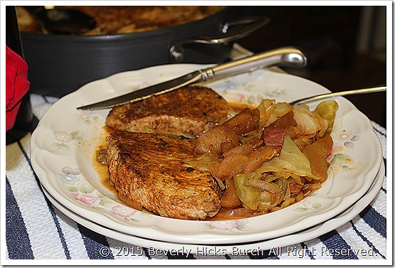 Pork Chops Cabbage and apples