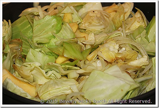 Sautee cabbage onions and apples