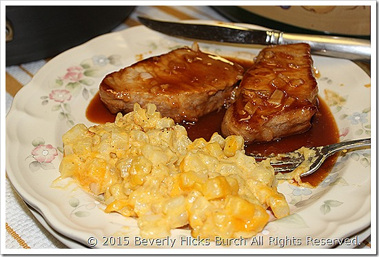 Sweet BBQ Pork Chops and Cheesy Crock Pot Potatoes