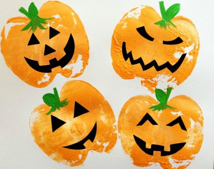 Lavoretti Halloween, disegnare una zucca con una mela