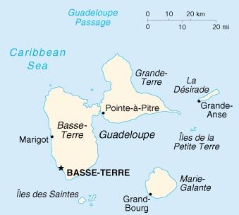 La mappa dell'arcipelago di Guadalupa