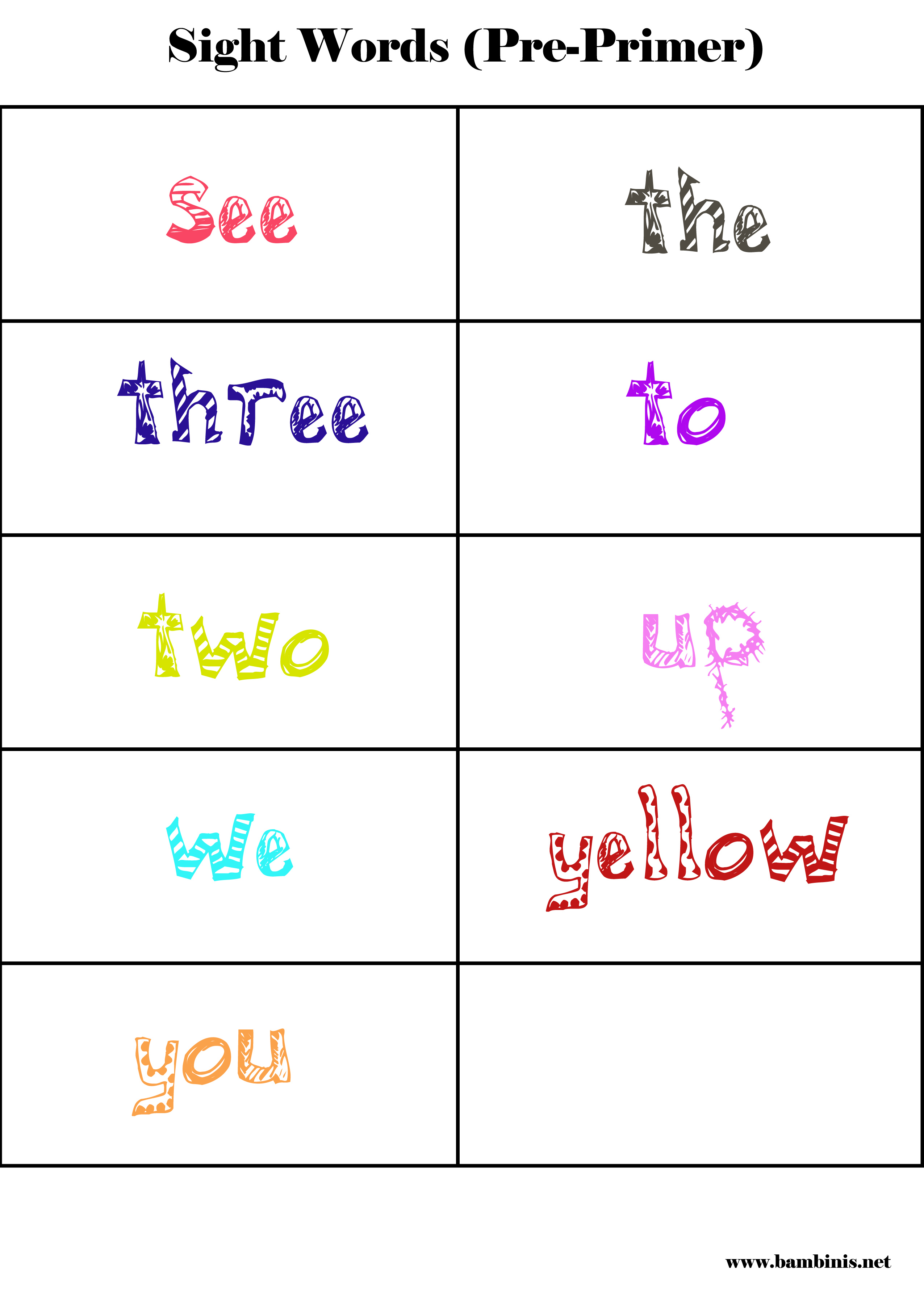 Sight Words Learning To Read Pre Primer