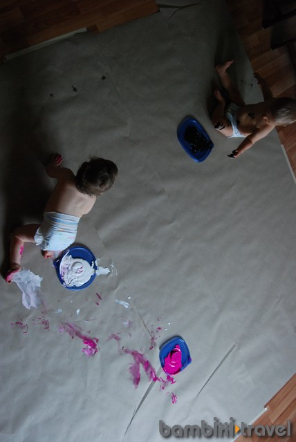 Big Paper Painting with babies